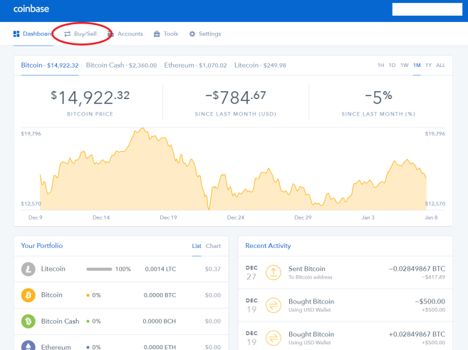 Coinbase Buying Crypto Step 1 - finished