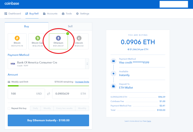 Coinbase Buying Crypto Step 2 finished
