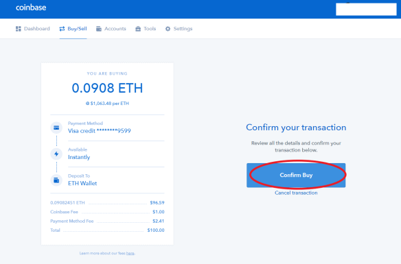 Coinbase Buying Crypto Step 4 finished